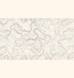 Vintage detailed contour topographic map vector