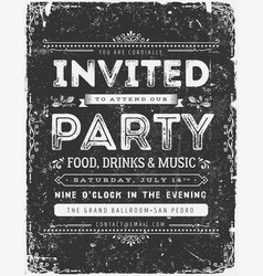 Vintage invitation sign on chalkboard vector