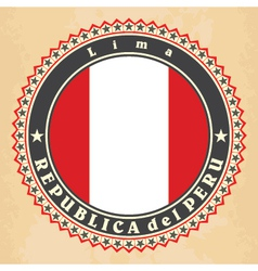 Vintage label cards of Peru flag vector