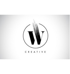 W brush stroke letter logo design black paint vector