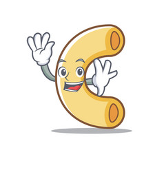 waving macaroni character cartoon style vector image