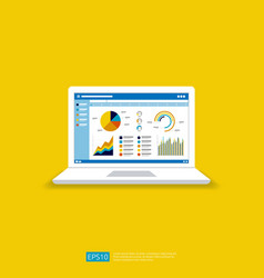 Web statistics analytic charts on laptop screen vector