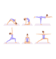 Yoga poses in studio women do yoga yoga mat vector