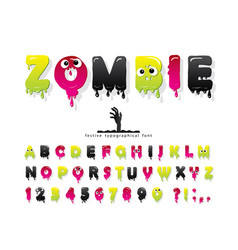 zombie halloween font jelly slim colorful letters vector image