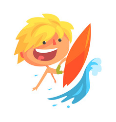 boy surfing on a big wave cartoon character vector image