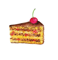 cake with cherry watercolor design element vector image
