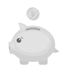 Donation piggybank icon in monochrome style vector image vector image