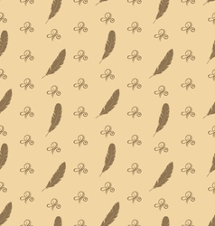 Seamless Pattern of Feathers with Ornament vector image vector image