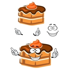 Cartoon chocolate cake with ganache frosting vector image