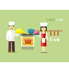 Chefs team people group flat style vector