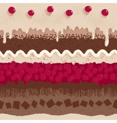 Cherry cake seamless pattern vector