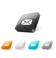3d web button with e-mail icon vector image vector image