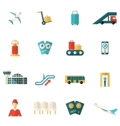 Airport Icons Flat vector image vector image