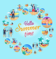 hello summer time circular vector image