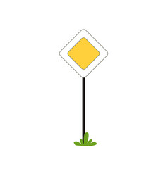 priority traffic sign of main road in shape of vector image