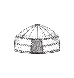 Yurt of nomads Hand draw Sketch drawing vector image