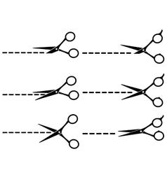 Black scissors with cut lines vector