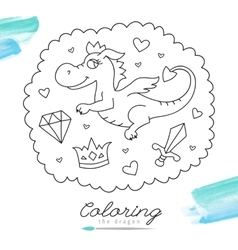 Dragon for coloring vector