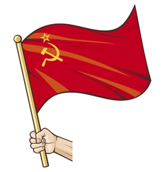 Hand holding ussr flag vector