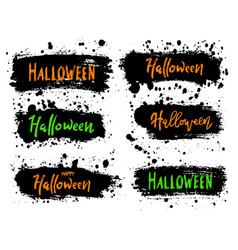 happy halloween lettering on black splash vector image