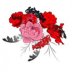 romantic background with red flowers vector image vector image