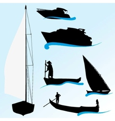Set of boat silhouettes vector image vector image