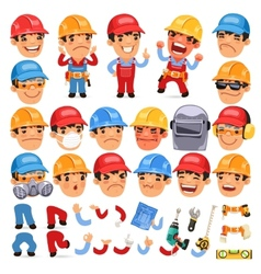 Set of cartoon worker character for your design or vector