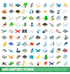 100 airport icons set isometric 3d style vector image