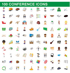 100 conference icons set cartoon style vector image vector image