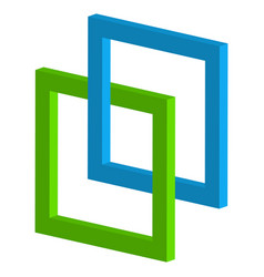 3d interlocking squares icon - connected vector