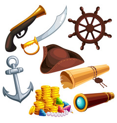 a set of pirate things vector image