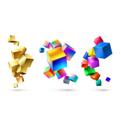Abstract cubes compositions golden geometric vector
