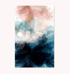 Abstract template in floral style deep blue pink vector
