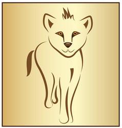Baby lion line art symbol vector