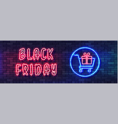 black friday sale neon colorful banner vector image
