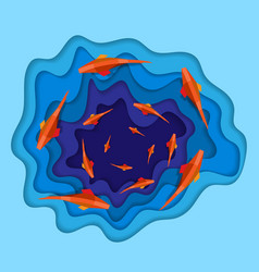 blue paper waves with fish in circle vector image