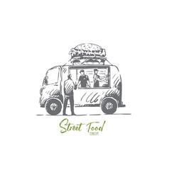 Burger car fast food shop truck concept vector