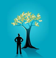 businessman looking at money tree vector image