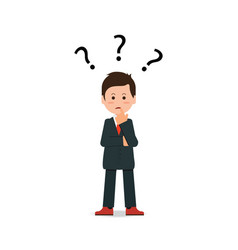 Businessman with question mark pondering problem vector
