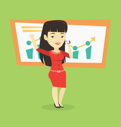 businesswoman celebrating business success vector image