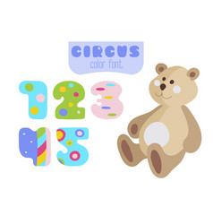 cartoon style numbers 1 2 3 4 5 and teddy bear vector image