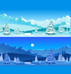 cartoon winter horizontal banners card poster set vector image