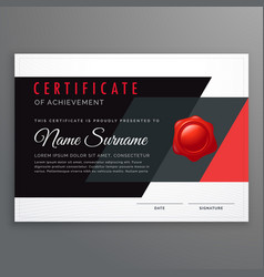 Certificate design in modern black and red vector