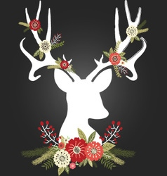 Chalkboard Christmas Deer Antlers with Flowers set vector image