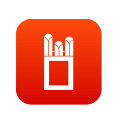 Chalks in carton box icon digital red vector