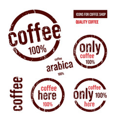 Coffee icons in form a stamp vector