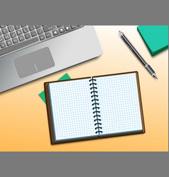 computer and notebook on the table vector image