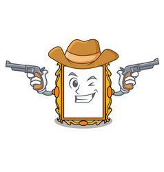 Cowboy picture frame character cartoon vector