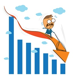 Cute character businessman fearfully riding on vector image