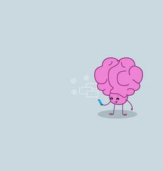 cute human brain organ using smartphone mobile app vector image